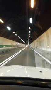 The 12 kilometer long tunnel through Mt. Blanc along the French/Italian border