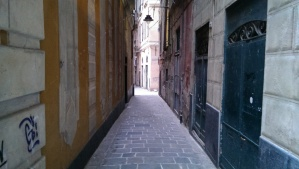 Narrow walkways through the apartment neighborhoods of Genoa