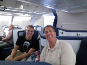 Chris and me ready for take-off in business class