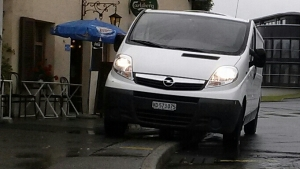 In Europe, sidewalks sometimes double as shoulders