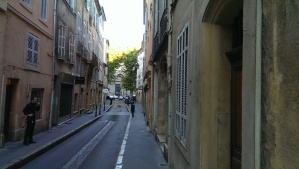 "I love the narrow European ""streets"". Aix's version."