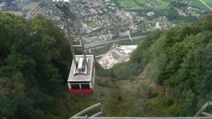 The tram on its final approach to the top