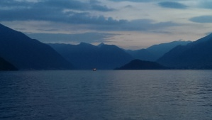 View of Lake Como, Italy, from the ferry from Varenna to Menaggio