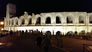 The coliseum in Arles at night
