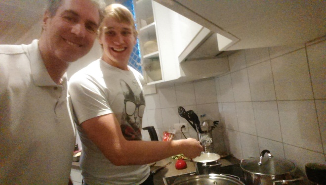 Chris and I cooking in our kitchen