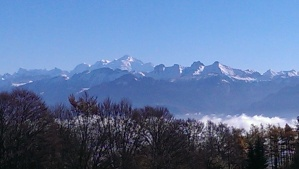 The Alps from La Dole, across Lake Geneva