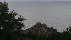 A church on an island rock in Spain on the Atlantic Ocean