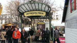 Art nouveau metro entranceway at Montemarte