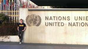Chris at the gate of Geneva's United Nations headquarters