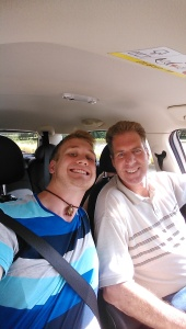 Chris and I about to embark on our first road trip, to Genoa Italy