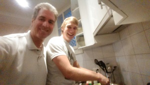 Chris and I cooking