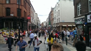 Lots of pedestrians in Dublin