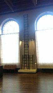That's an awfully tall ladder to scale while wearing 80 pounds of steel and carrying another 30 pounds of sword.