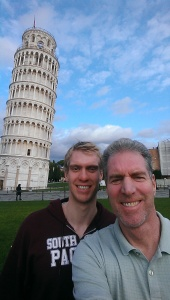 Pat and me at the Leaning Tower of Pisa