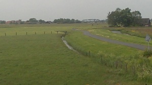Bike trail on dykes north of Amsterdam
