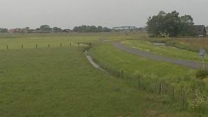 Bike trail on dykes north of Amsterdam