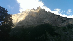 View of the stone spires of Jungfrau from below in the valley
