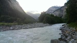 The Weisse Lütschine river flows through the valley from Stechelberg to Lauterbrunnen