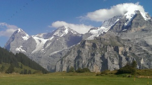 First view from Grutschalp: L to R: Eigre, Monch, Jungfrau