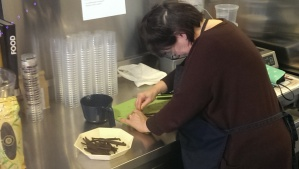 Linda working hard