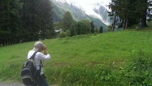 Pat M photographing Bossons glacier